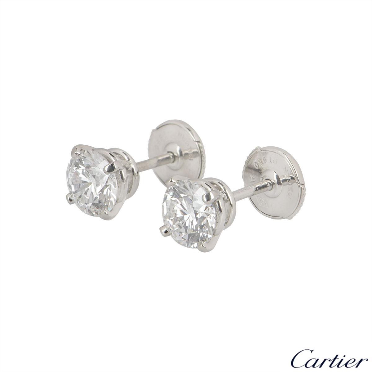 Cartier Platinum Diamond 1895 Earrings 2.01ct TDW F/VS1